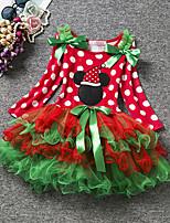 Girl's Birthday Going out Polka Dot Print Dress,Cotton Fall All Seasons Long Sleeve