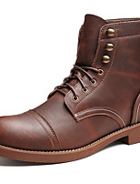 cheap -Men's Shoes Nappa Leather Winter Fall Combat Boots Fashion Boots Cowboy / Western Boots Boots Booties/Ankle Boots for Casual Outdoor