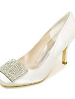 Women's Wedding Shoes Basic Pump Spring Summer Satin Wedding Party & Evening Rhinestone Stiletto Heel Ivory Champagne Blue Red Purple