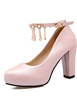 Women's Shoes PU Spring Fall Comfort Heels Chunky Heel Round Toe Pearl Tassel(s) For Outdoor Office & Career Blushing Pink Purple White