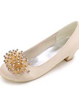 abordables -Fille Chaussures Satin Printemps Eté Chaussures de Demoiselle d'Honneur Fille Chaussures à Talons Strass pour Mariage Soirée & Evénement