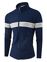 cheap -Men's Sports Going out Casual Active Sweatshirt Striped Stand Micro-elastic Cotton Long Sleeve All Seasons