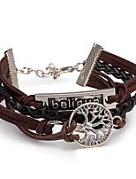 Men's Women's Leather Bracelet Wrap Bracelet Jewelry Friendship Multi Layer Punk Adjustable DIY PU Alloy Leaf Infinity Jewelry For Daily