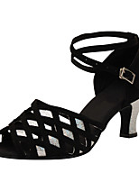Women's Latin Silk Sandals Performance Paillettes Cuban Heel Black 2