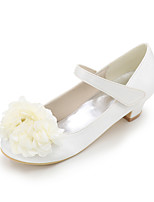 cheap -Girls' Shoes Satin Spring Summer Flower Girl Shoes Heels Applique Magic Tape for Wedding Party & Evening Ivory Champagne Blue Red Purple