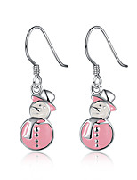 Women's Hoop Earrings Basic Cartoon Copper Silver Plated Jewelry For Party Christmas
