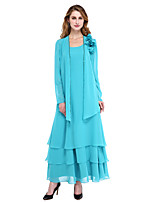 A-Line Scoop Neck Ankle Length Chiffon Mother of the Bride Dress with Beading Flower(s) Tassel(s) by LAN TING BRIDE®