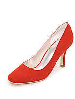 cheap -Women's Shoes Flocking Spring Summer Basic Pump Heels Null Stiletto Heel Square Toe Null / For Dress Almond Blue Green Red Black