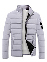 Men's Regular Padded Coat,Simple Going out Casual/Daily Solid-Polyester Polyester Long Sleeves