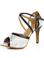 Women's Latin Synthetic Microfiber PU Suede Heel Indoor Buckle High Heel White Customizable