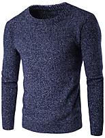 Herren Standard Pullover-Festtage Lässig/Alltäglich Einfach Solide Rundhalsausschnitt Langarm Baumwolle Herbst Winter Dick Dehnbar