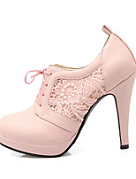 Women's Heels Comfort Spring Fall Lace Leatherette Casual Party & Evening Lace-up Stiletto Heel White Black Blushing Pink 4in-4 3/4in