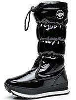 Недорогие -Для женщин Обувь Лакированная кожа Зима Осень В ковбойском стиле Зимние сапоги Модная обувь Ботинки Плоские Круглый носок Сапоги до