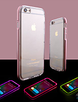 Para iPhone 8 iPhone 8 Plus iPhone 6 iPhone 6 Plus Case Tampa Luz de LED Transparente Capa Traseira Capinha Côr Sólida Macia PUT para