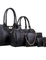 Women Bags All Seasons PU Bag Set Flower(s) Zipper for Formal Office & Career Blue Black Fuchsia Wine