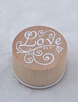sello de madera circular (amor)
