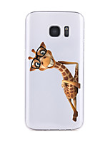 cheap -For Samsung Galaxy S7 Edge S6 Transparent Pattern Case Back Cover Case Cartoon Giraffe Soft TPU  for S7 S6 edge plus S6 edge S6 Active S5 S4