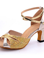 "cheap -Women's Latin Sparkling Glitter Heel Indoor Low Heel Blue Red Silver Gold 1"" - 1 3/4"" Customizable"