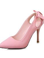 Damen Schuhe Vlies Frühling Herbst Komfort High Heels Stöckelabsatz Spitze Zehe Schleife Für Schwarz Grau Rosa