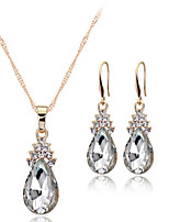 cheap -Women's Crystal Jewelry Set Solitaire Drop Ladies European Earrings Jewelry White / Red / Blue For Wedding Party Daily