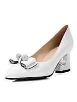 Women's Shoes Patent Leather Spring Summer Comfort Heels Block Heel Pointed Toe Rhinestone Bowknot For Outdoor Office & Career Blushing