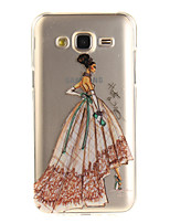 cheap -For Samsung Galaxy J5 J5(2016) J3 J3(2016) G530 Case Cover Fashion Girl Pattern IMD Process Painted TPU Material Phone Case