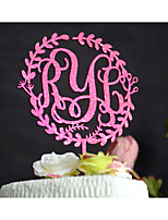 cheap -Floral Wreath Wedding Cake Topper Personalized with Monogram Hand Painted in Glitter Peach Red or in Natural Wood Color