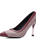 Women's Shoes PU Spring Fall Comfort Heels Stiletto Heel Pointed Toe For Outdoor Office & Career Burgundy Black