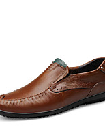 Men's Shoes Nappa Leather Spring Fall Comfort Loafers & Slip-Ons Rivet For Casual Party & Evening Brown Black