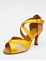 Women's Latin Silk Glitter Net Heel Indoor Buckle Splicing Yellow Silver Black Gold Customizable