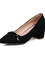 Для женщин Обувь Нубук Весна Осень Удобная обувь Обувь на каблуках На толстом каблуке Заостренный носок Шнуровка Назначение Черный Серый