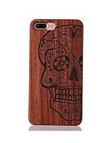 For Shockproof Embossed Pattern Case Back Cover Case Skull Hard Rosewood and PC Combination for Apple iPhone 7 7 Plus 6s 6 Plus SE 5s 5
