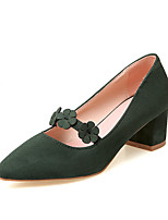 Women's Shoes Nubuck leather Spring Fall Comfort Heels Chunky Heel Pointed Toe Flower For Outdoor Office & Career Dark Green Blushing