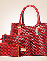 Women Bags All Seasons PU Bag Set Flower(s) Zipper for Formal Office & Career Black Yellow Fuchsia Camel Wine