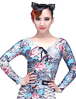 cheap -Latin Dance Tops Women's Performance Spandex Chinlon Pattern / Print Long Sleeves Dropped Top