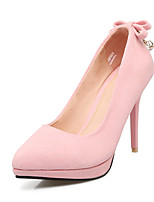 Women's Shoes Nubuck leather Spring Fall Comfort Heels Stiletto Heel Rhinestone Bowknot For Outdoor Office & Career Blushing Pink Gray