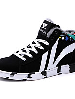 Men's Shoes PU Suede Fall Winter Comfort Sneakers Lace-up For Casual Outdoor Black/Red Blue Black