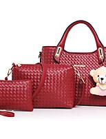 Women Bags All Seasons PU Bag Set Flower(s) Zipper for Formal Office & Career Gold White Black Red Fuchsia