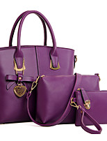 Women Bags All Seasons PU Bag Set Bow(s) Flower(s) Zipper for Formal Office & Career Blue Champagne Black Red Purple