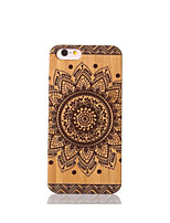 For Shockproof Case Back Cover Case Color Carving Mandala Hard Bamboo for Apple iPhone 6s/6