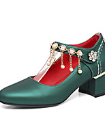 Women's Shoes PU Spring Summer Comfort Heels Chunky Heel Round Toe Rhinestone Pearl Chain For Outdoor Office & Career Green Red Sliver
