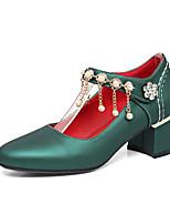 Mujer Zapatos PU Primavera Verano Confort Tacones Tacón Robusto Dedo redondo Pedrería Perla Cadena Para Beige Plateado Rojo Verde