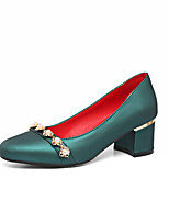 Women's Shoes PU Spring Summer Comfort Heels Chunky Heel Round Toe Rhinestone Pearl For Outdoor Office & Career Green Red Sliver Beige