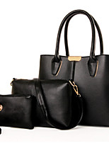 Women Bags All Seasons PU Bag Set Flower(s) Zipper for Formal Office & Career Blue Black Red Beige Fuchsia