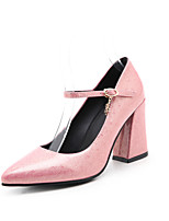 Women's Shoes Patent Leather Spring Fall Comfort Heels Chunky Heel Pointed Toe Buckle For Outdoor Office & Career Blushing Pink Army