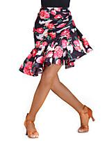 cheap -Latin Dance Bottoms Women's Performance Spandex Chinlon Pleats Pattern/Print Sleeveless Natural Skirts