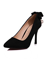 Women's Shoes Fleece Spring Fall Comfort Heels Stiletto Heel Pointed Toe Rhinestone For Outdoor Office & Career Blushing Pink Gray Black