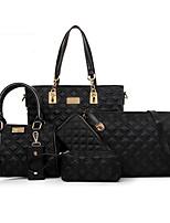 Women Bags All Seasons PU Bag Set Flower(s) Zipper for Formal Office & Career Blue Black Purple Fuchsia