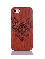 For Shockproof Embossed Pattern Case Back Cover Case Wolf Head Pattern Hard Pear Solid Wood for Apple iPhone 7 7 Plus 6s 6 Plus SE 5s 5