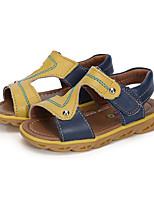 Boys' Sandals Walking Comfort Leather Summer Casual Party & Evening Hook & Loop Split Joint Flat Heel Light Blue Navy Blue Orange Flat